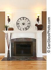 luksus dom, biały, kominek, z, kamień, i, clock.