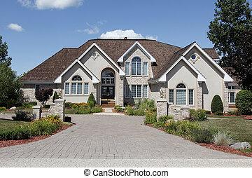 luksus dom, z, kamień, kolumny