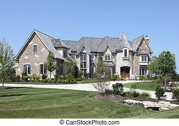 luksus dom, z, kamień, wieżyczka