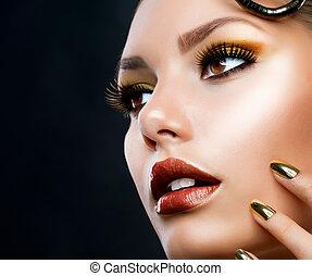 luksus, dziewczyna, fason, makeup., portret, złoty