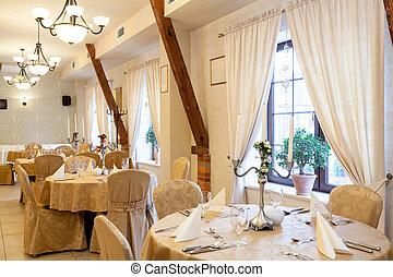 luksus, elegancja, restauracja
