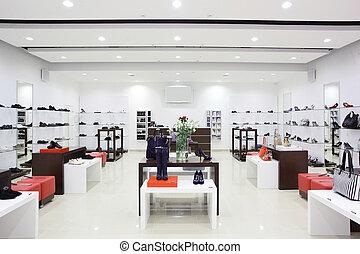 luksus, europæisk, sko, butik