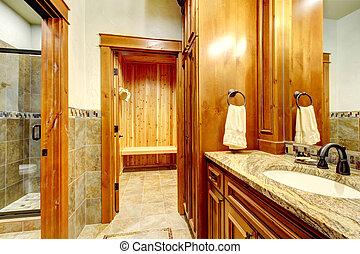 luksus, góra, dom, łazienka, inetrior, z, kamień, i, wood.