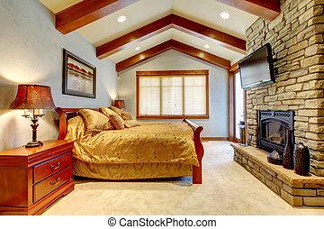 luksus, góra, dom, łazienka, z, kamień, fireplace.