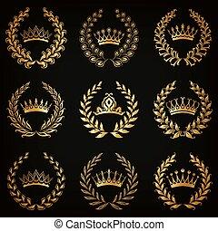 luksus, guld, etiketter, hos, laurbær krans