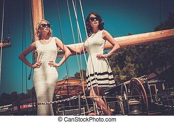 luksus, jacht, bogaty, kobiety, szykowny