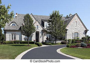 luksus, kamień, dom, z, okólnik, podjazd