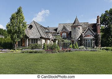 luksus, kamień, dom, z, wieżyczka