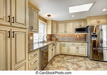 luksus, kuchnia, wewnętrzny, z, wstecz, bryzg, przystrzyc, i, sączkowa podłoga