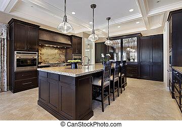 luksus, kuchnia, z, ciemny, cabinetry