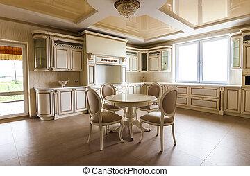 luksus, moderne, passede, køkken, interior., køkken, ind, luksus til hjem, hos, beige, cabinetry., tabel, og, stol