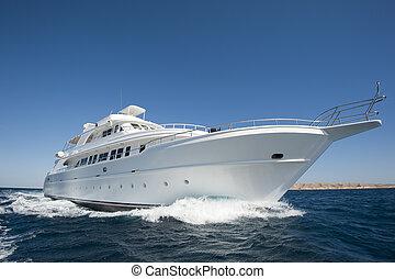 luksus, motor, yacht, på havet
