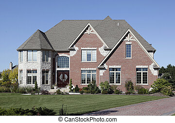 luksus, mursten, hjem