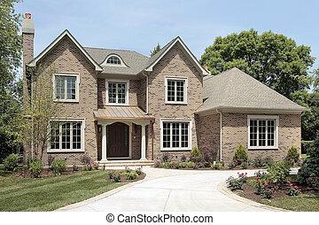 luksus, mursten, hjem, hos, hvid, kolonner