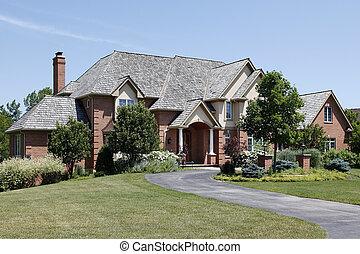 luksus, mursten, hjem, hos, kolonner