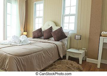 luksus, nowoczesny, bedroom.