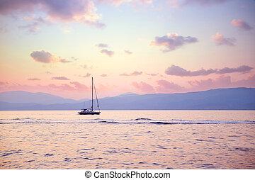 luksus, sejlbåd, ind, solnedgang, lys