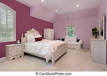 luksus, sypialnia, panieński, różowy, dom