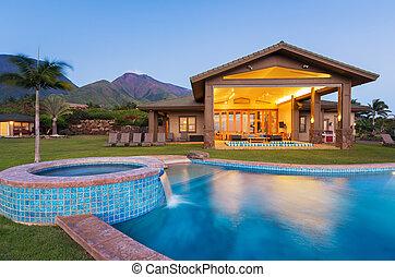 luksus til hjem, hos, svømmebassinet, hos, solnedgang