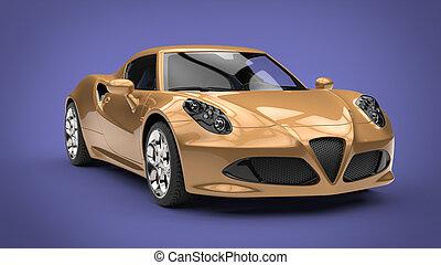luksus, złoty, nowoczesny, ma na sobie wóz