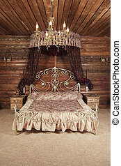 luksusowy, łóżko