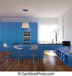 luksusowy, błękitny, kuchnia, wewnętrzny
