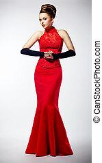 luksusowy, piękny, panna młoda, ubrany, w, czerwony, fason, nowoczesny, strój