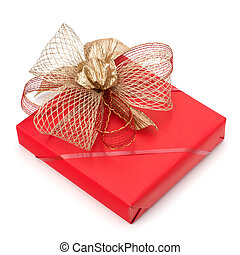 luksusowy, tło, odizolowany, dar, biały