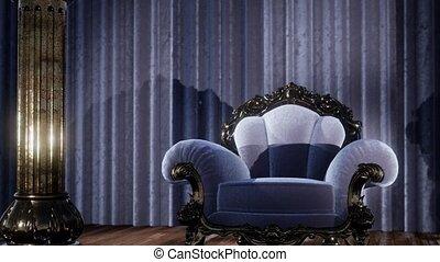 luksusowy, teatr, krzesło, rusztowanie firanka