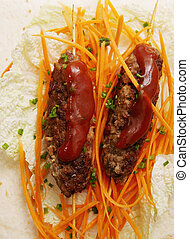 Lula kebab with carrots