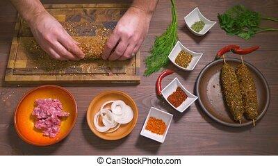 Process of making kebab lula, top view - Lulia kebab, a dish...