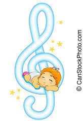 Lullaby - Illustration of a Baby Being Lulled to Sleep by...