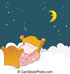 The illustration shows a small baby bed on a background of clouds and the night sky. Illustration done in cartoon style, on separate layers.