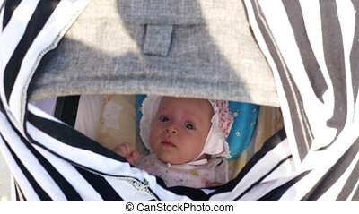 Lulling baby girl in pram - Mother pushing pram to lull the...