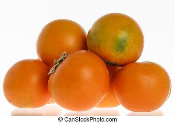 Exotic tropical fruit called lulo (Solanum quitoense)