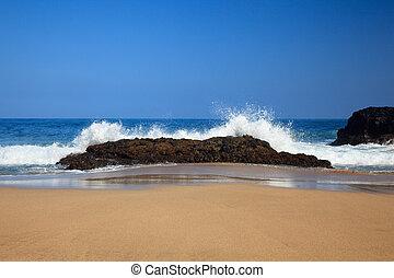 lumahai, sobre, ondas, pedras