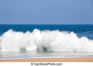 lumahai, sobre, praia, ondas