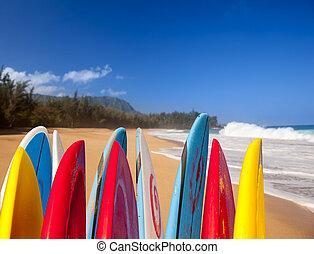 lumahai, strand, surfboards, kauai