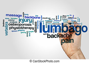 Lumbago word cloud concept on grey background