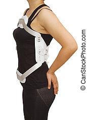 lumbal, jewet, hängslen, spänna, för, baksida, truma, eller, fraktur, thorakalt, och, lumbal, rygg, på, isolerat, bakgrund
