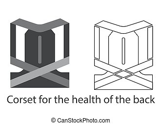 Lumbar corset belt for healthy back. Line and fill illustration.