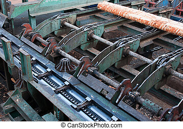 Lumber industry - cutting line in saw mill