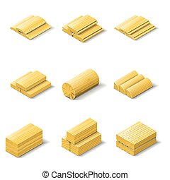 Lumber isometric detailed icon set