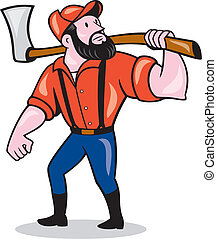 Illustration of a lumberjack sawyer forester standing holding an axe on shoulder looking up to side on isolated white background done in cartoon style.