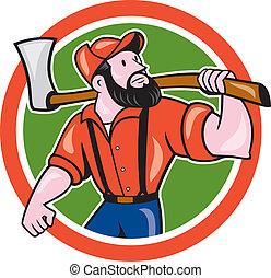Lumber Jack Holding Axe Circle Cartoon - Illustration of a ...
