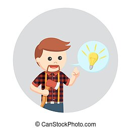 lumber jack with idea callout in circle background