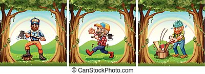 Lumber jacks chopping woods
