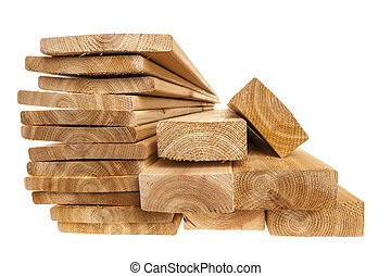 Lumber planks and boards - Various sizes of wooden cedar ...