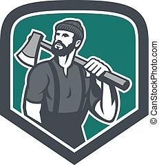 lumberjack, おの, レトロ, 保有物, 保護