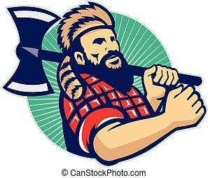 lumberjack, ロガー, レトロ, おの
